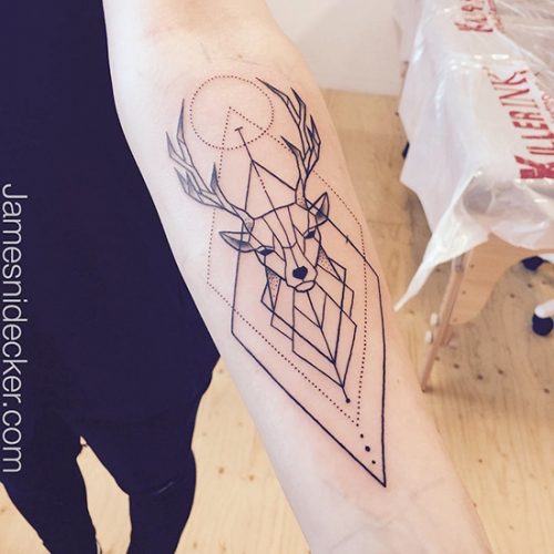 James Nidecker geometric deer tattoo amsterdam